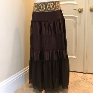 NWT NY Collection brown / embellished Gypsy skirt